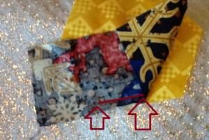 half sewn first strip