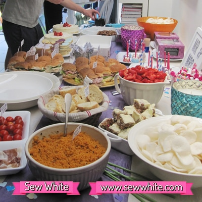 Sew White surprise wedding anniversary party food 9