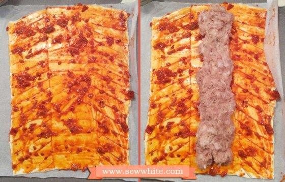 Bleeding ribs spicy sausage rolls Halloween dinner 4
