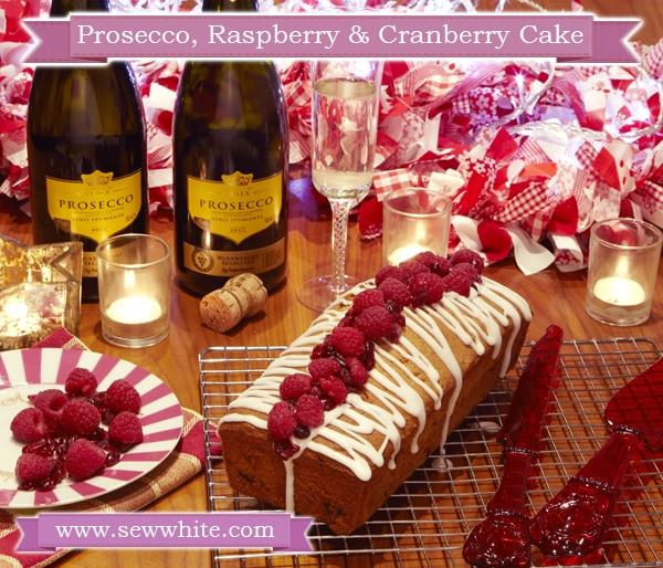 Sew White Sisley White Prosecco raspberry and cranberry Christmas cake 1
