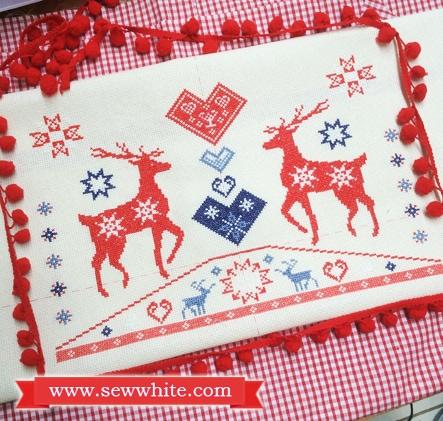 Sew White reindeer Christmas cross stitch pompom cushion 1