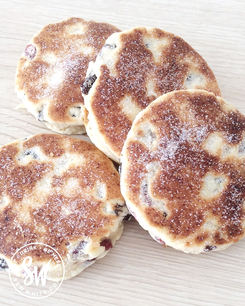 Cranberry and Lime Welsh Cakes dusted with caster sugar.
