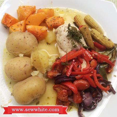 Sew White roast chicken and orange dinner 3