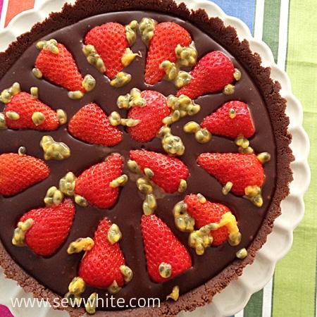 Sew White Chocolate Ganache, Strawberry and passion fruit tart. chocolate truffle and strawberry tart