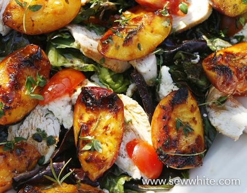 Sew White grilled nectarine chicken and parma ham summer salad 6