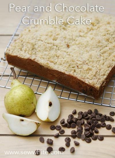 Sew White pear and chocolate crumble cake 1