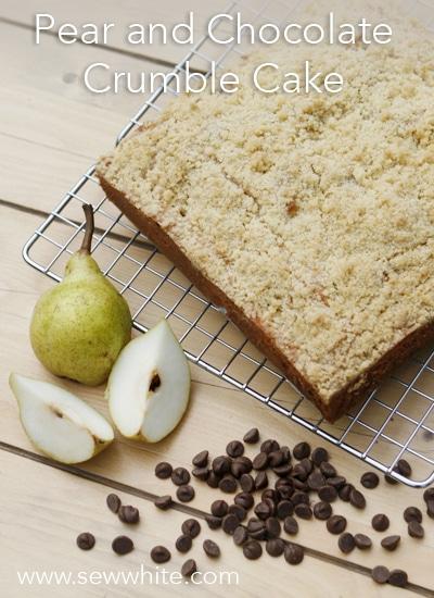 Sew White pear and chocolate crumble cake 2
