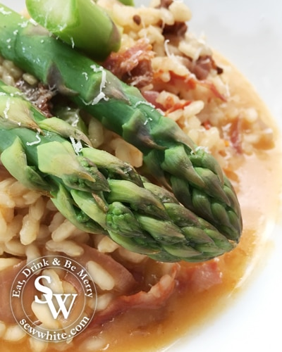 Sew White Seasonal Asparagus and Chorizo Risotto