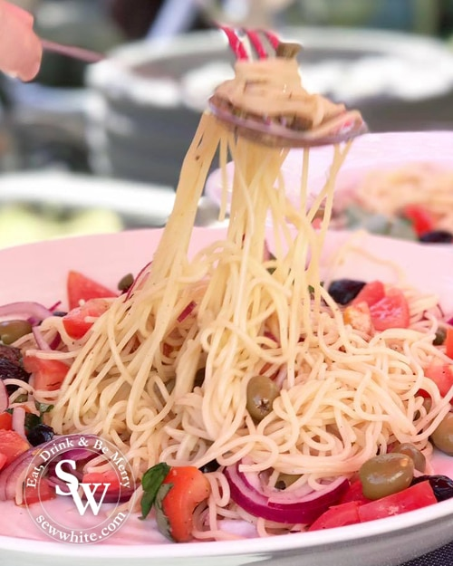 Quick Summer Spaghetti being pulled together with a spoon and fork