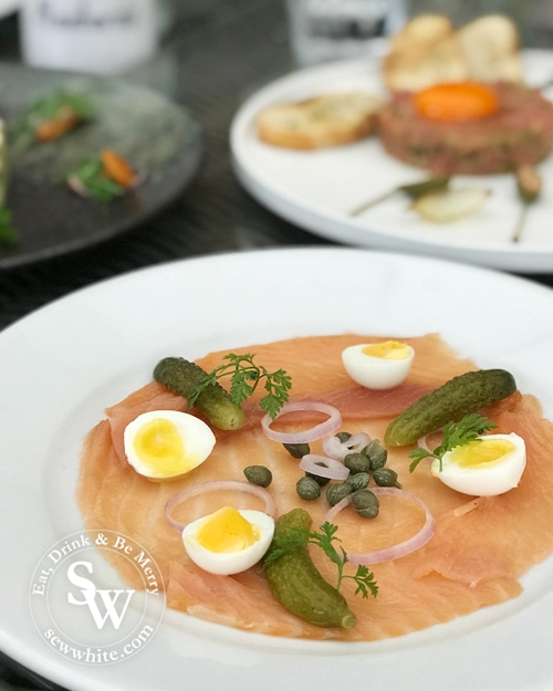 Smoked salmon with soft boiled eggs at Hotel du Vin Wimbledon Autumn Menu tasting