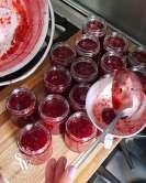 Strawberry and raspberry homemade jam sew white making of 5