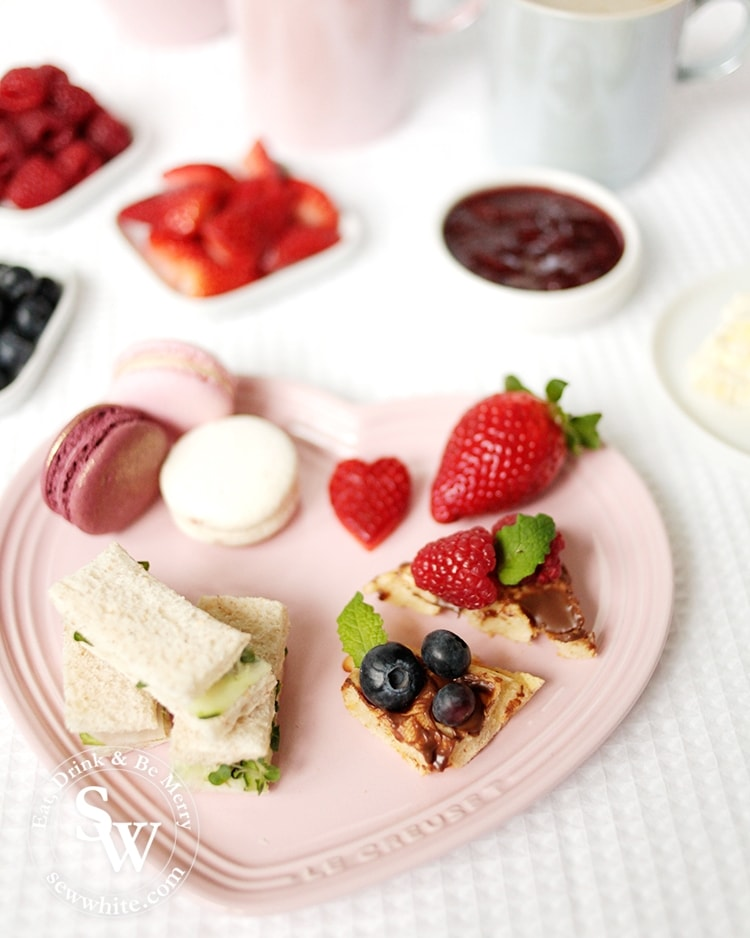 Serving up afternoon tea on the chiffon pink Le Creuset heart plate