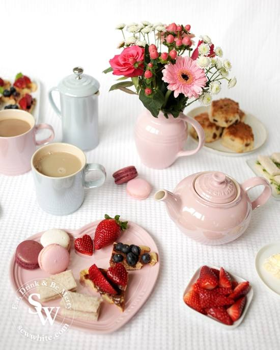 Afternoon Tea served with Waffle Bites and served with Le Creuset glace collection for Mother's Da. From the recipe Afternoon tea waffle bites by Sew White