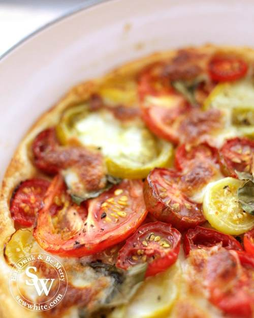 Beautiful rich tomatoes after being baked in the oven for the Puff Pastry Tomato Tart.