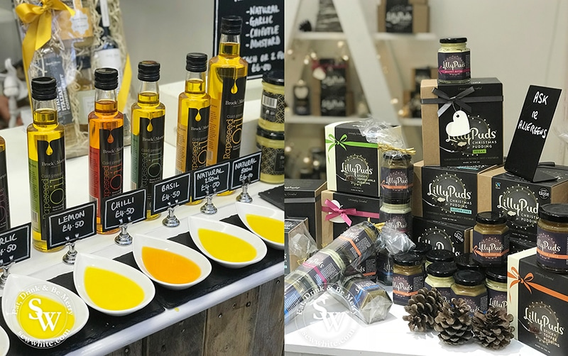 Flavoured oils, Christmas puddings big and small on sale in the food department.