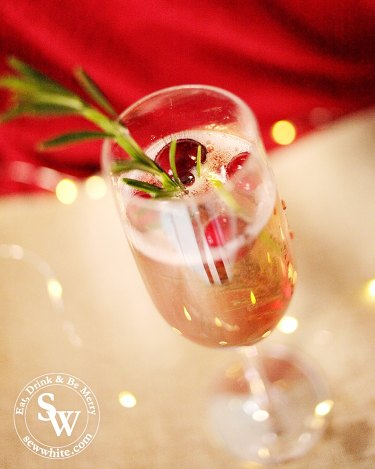 Raspberry Rosemary Fizz with bubbling and fizzing with cranberries, rosemary and lime.