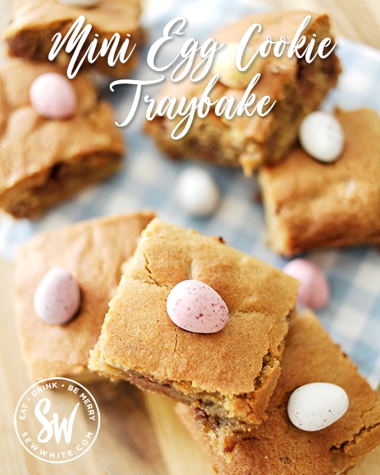Mini Egg Cookie Traybake recipe. An easy recipe for making with the family using store cupboard ingredients in time for Easter.