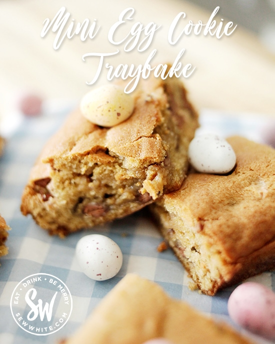 Mini Egg Cookie Traybake perfect Easter baking for children and big kids. A great recipe using up pantry ingredients and everyone's favourite mini eggs.