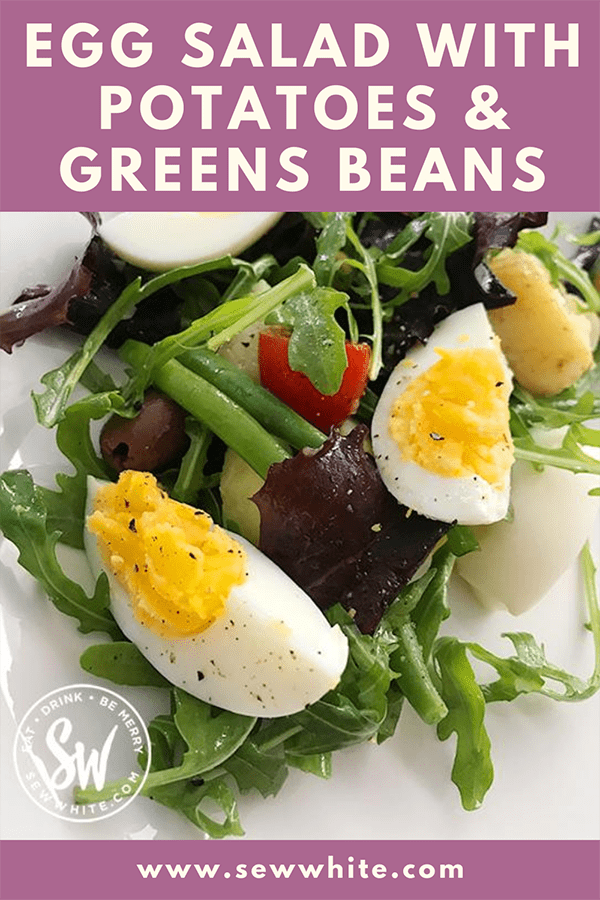 egg salad with potatoes and green beans pin