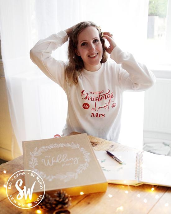 Sisley White in her bridal Christmas jumper Christmas