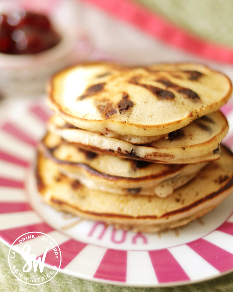 pancakes with chocolate and cherry filling for pancake day.