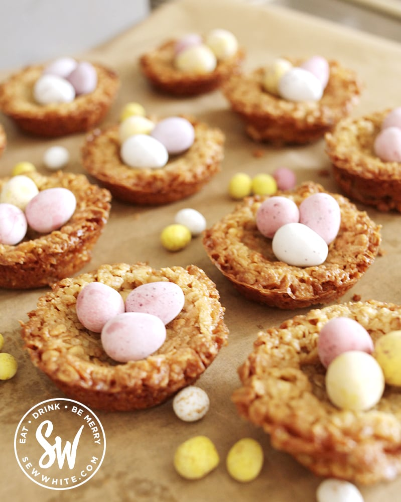 easter flapjack nests decorated with mini eggs and easter eggs