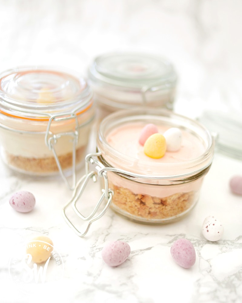 mini cheesecakes for easter with mini eggs in kilner clip lock jars
