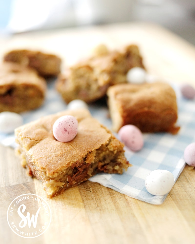 easter cookie traybake with chocolate eggs