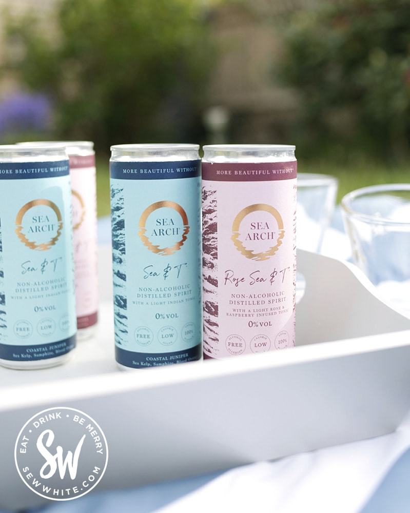 Non alcoholic can gin drink on a grey tray on blue and white picnic blanket