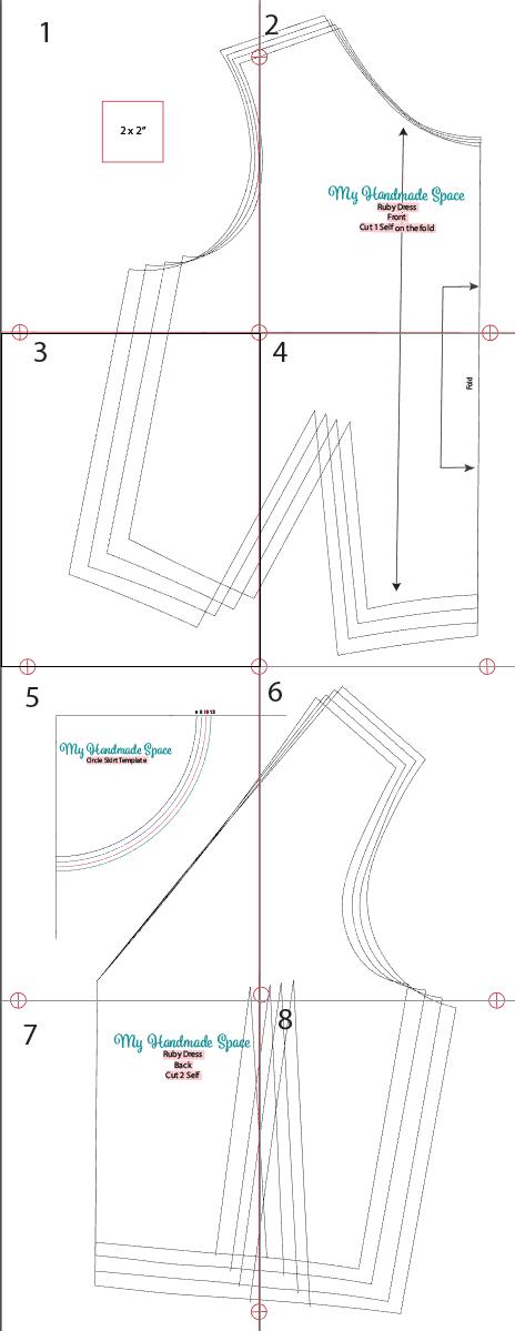 Ruby Dress Pattern Layout