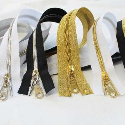 Nylon metallic zippers - Gold