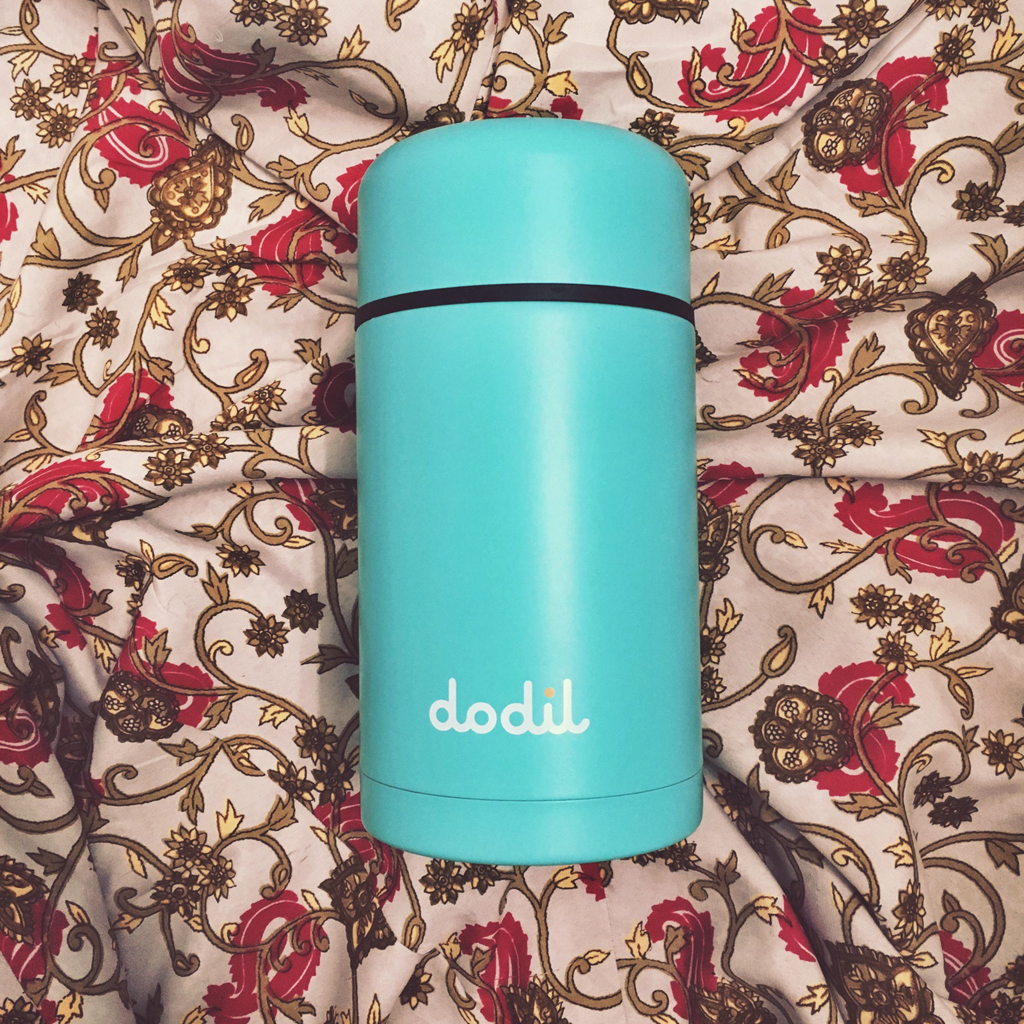 above photo of teal dodil thermos