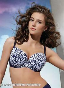 Bikinitopp med virvlande mönster, upp till J-kupa
