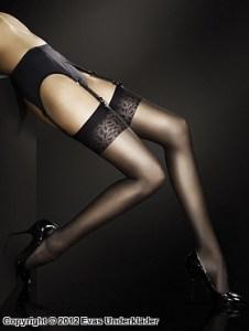 Stockings med blommig kant