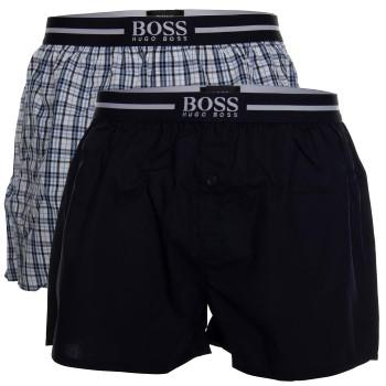 BOSS Woven Boxer Shorts With Fly Kalsonger 2P Mörkblå bomull Small Herr