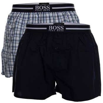 BOSS Woven Boxer Shorts With Fly Kalsonger 2P Mörkblå bomull X-Large Herr