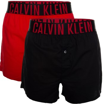 Calvin Klein Kalsonger 2P Intense Power Slim Fit Boxer Shorts Svart/Röd bomull Large Herr