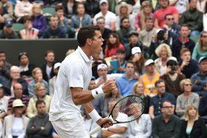 Raonic festeja su victoria ante Querrey / Foto vía: livetennis.com