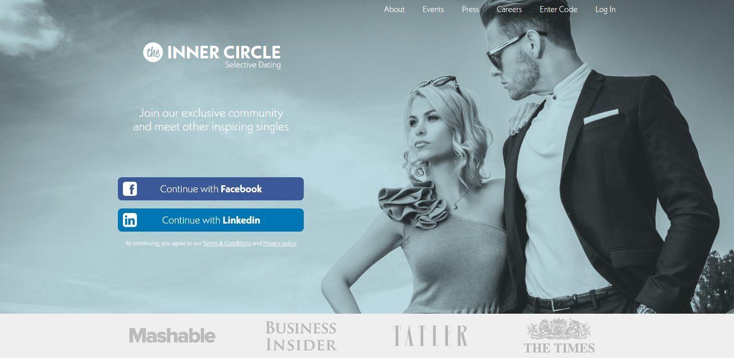 Inner Circle dating: pagina di registrazione