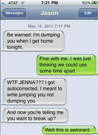 Autocorrect texting mistake example