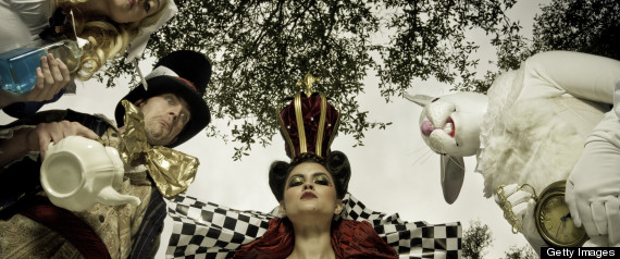 Red Queen, White Rabbit, Mad Hatter and Alice in Wonderland