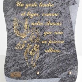 Plaque funéraire 477 parchemin colombe