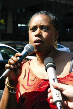 Among many political leaders around the world who speak out for justice for Mumia is former Congresswoman Cynthia McKinney, an avid supporter. Here she speaks at a Philadelphia rally for the world-renowned journalist on April 19, 2008. – Photo: Minister of Information JR