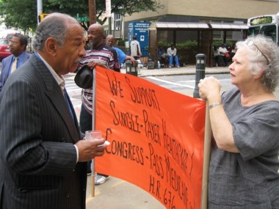 Rep. John Conyers, D-Mich., talks about single payer healthcare with Metro Atlanta Task Force for the Homeless Director Anita Beaty outside Grady Hospital in Atlanta May 27. – Photo: Jonathan Springston, Atlanta Progressive News