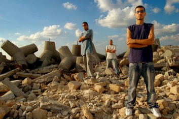 "The film ""Slingshot Hip Hop"" screened at Sundance '08 features PR: Palestinian Rapperz, whose ""words descend on you like kamikazes,"" wrote one reviewer, and ""prove that music is as powerful as bombs."""