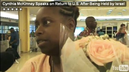 Upon Cynthia McKinney's arrival in Washington, D.C., on July 7 after a week in an Israeli jail, she is interviewed briefly by the Council of American-Islamic Relations. – Video: CAIR