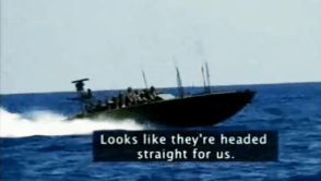 "This frame near the end of the video shows the Israeli Navy about to board the Free Gaza boat, ""Spirit of Humanity,"" and brutally arrest the 21 people aboard. – Video: Ricenpeas.com"