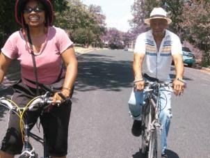 Wanda Sabir went biking with Robert King of the Angola 3 in Austin last month. – Photo: Wanda Sabir