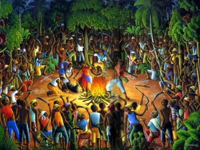"Aug. 23 is the International Day for the Remembrance of the Slave Trade and its Abolition, commemorating the rebellion of enslaved Africans that began on the night of Aug. 22-23, 1791, in Bwa Kayiman, depicted in this painting, in the north of the then French colony of Santo Domingo, now Haiti, and became the only successful slave rebellion in history. To learn more, read UNESCO's ""Slave Voyages: The Transatlantic Trade in Enslaved Africans,"" http://unesdoc.unesco.org/images/0012/001286/128631eo.pdf."