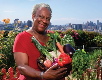Shirley Jones holds a harvest of health in her hands – mmm, delicious! – picked fresh from the Potrero Community Garden on Potrero Hill in San Francisco's District 10.